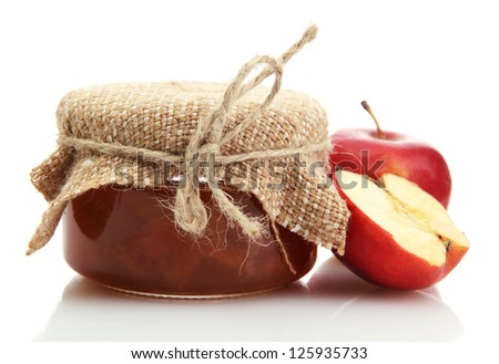 tasty homemade jam and apples, isolated on white