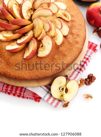 tasty homemade pie with apples, isolated on white