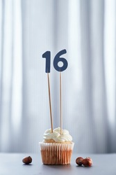 Tasty homemade vanilla creamy cupcake or muffin with topping and number 16 sixteen and bright background. Birthday greeting card concept. High quality vertical image
