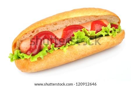 tasty hot dog isolated on white - stock photo