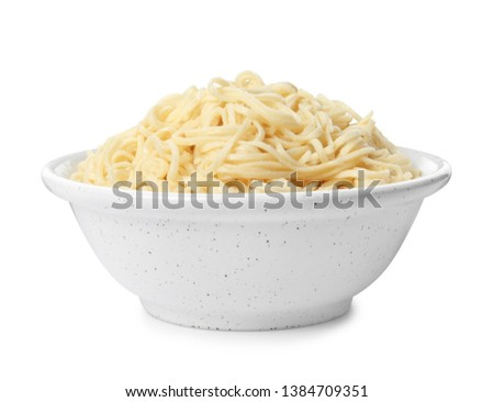 Tasty instant noodles in bowl isolated on white