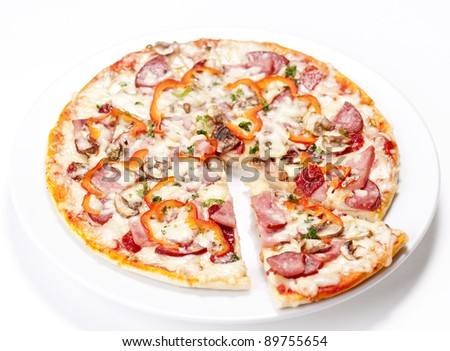 Tasty Italian Pepperoni pizza. Isolated on white