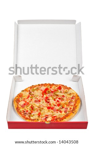 Tasty Italian pizza in the carton box, isolated on white background