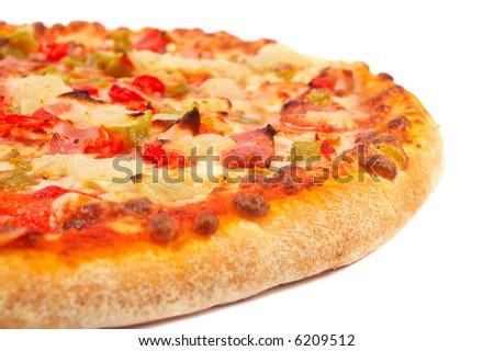Tasty Italian pizza, isolated on white background. Shallow DOF