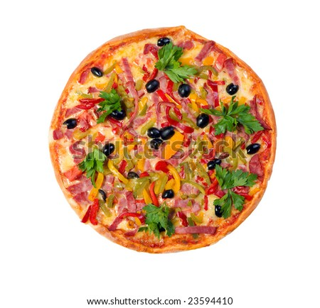 Tasty Italian pizza.Neapolitan,Close-up isolated on a white background.
