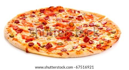 Tasty Italian pizza over white