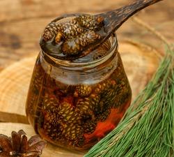 tasty jam from pine fir cones