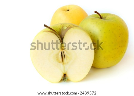 Tasty juicy apples on a white background.
