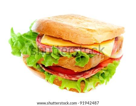 tasty juicy sandwich on a white background - stock photo
