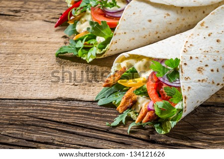 Tasty kebab with vegetables and chicken