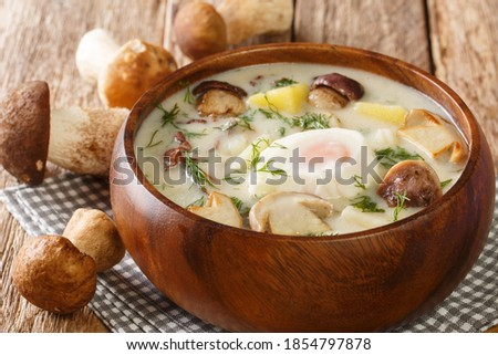 Tasty Kulajda is a traditional Czech thick soup, with mushrooms, potatoes, and cream, that is flavored with dill and topped with poached egg close-up in a bowl on the table. Horizontal