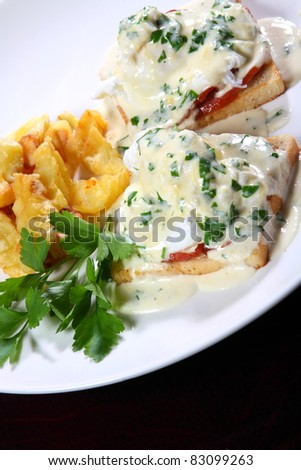 tasty meat and dessert dishes for the restaurant menu - stock photo