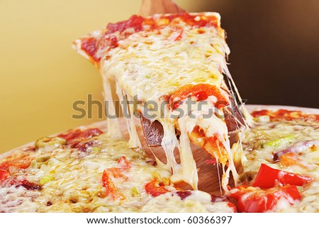 tasty meat and vegetables pizza
