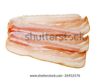 Tasty meat bacon fresh food isolated on a white background