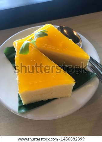 Tasty orange cake melting in the mouth Has a sweet and sour taste