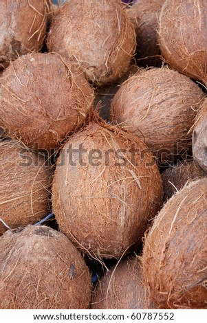 Tasty organic coconuts at local market