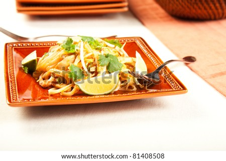Tasty Pad Thai on a square plate