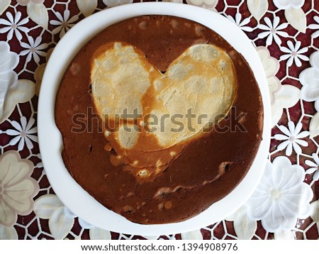 tasty pancake with heart picture