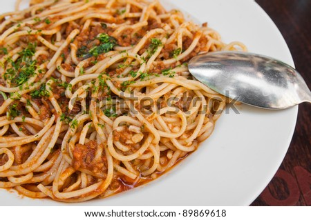tasty pasta-Italian meat sauce noodles on the table