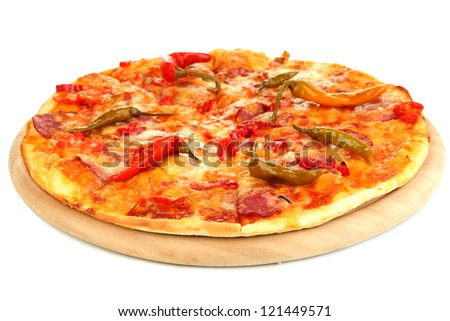 Tasty pepperoni pizza on wooden board isolated on white