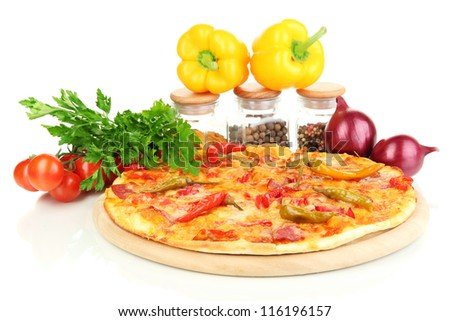 Tasty pepperoni pizza with vegetables on wooden board isolated on white