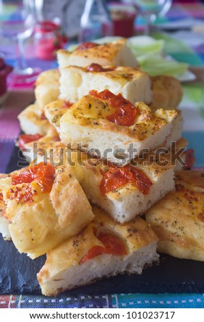 Tasty pieces of Focaccia, typical kind of pizza from South Italy