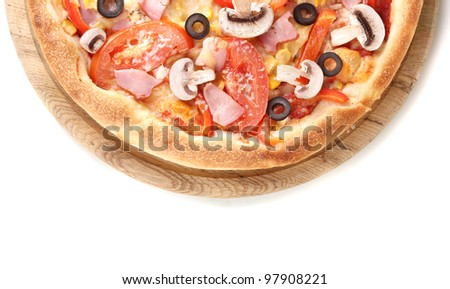 Tasty pizza close-up isolated on white