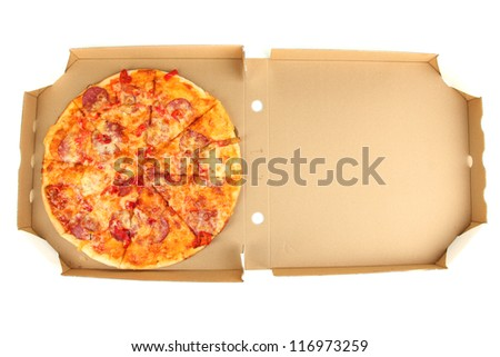 Tasty pizza in box isolated on white
