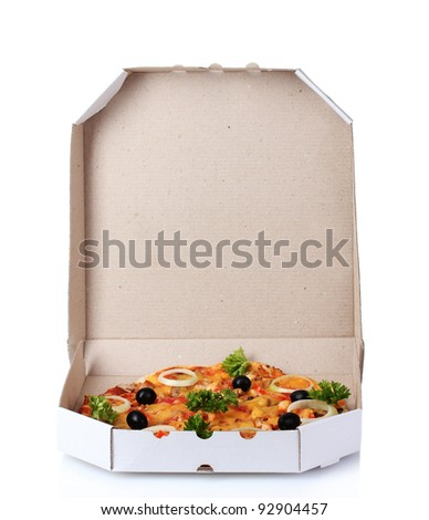 tasty pizza in package isolated on white
