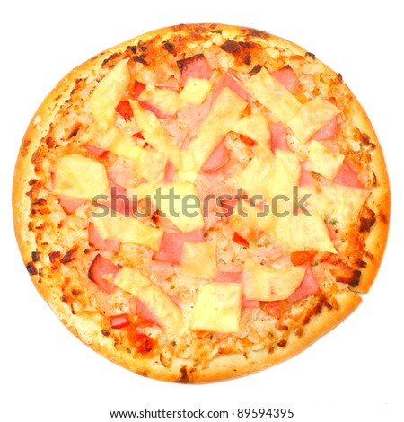 Tasty Pizza on a white background.
