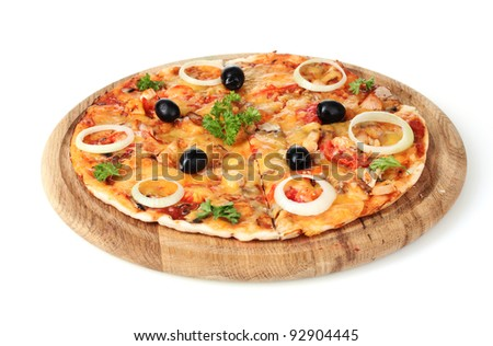 tasty pizza with olives on wooden stand isolated on white