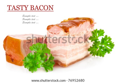 Tasty pork bacon and parsley isolated on white background