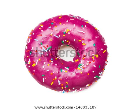 tasty purple donut, isolated on white
