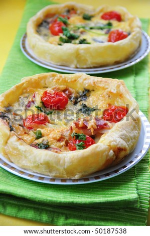 Tasty quiche with gorgonzola cheese and parma ham