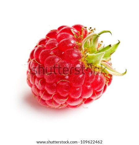 Tasty raspberry fruit. Studio shot on white background.