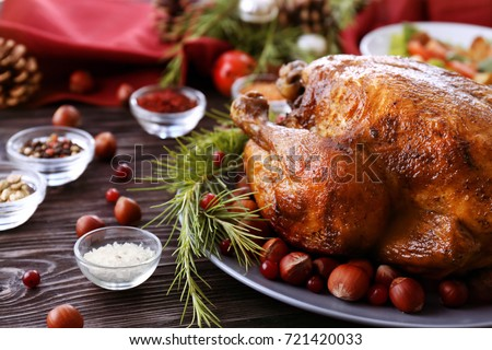 Tasty roasted turkey on plate #721420033