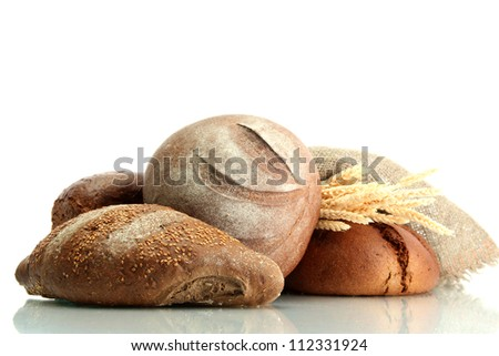 tasty rye breads with ears, isolated on white