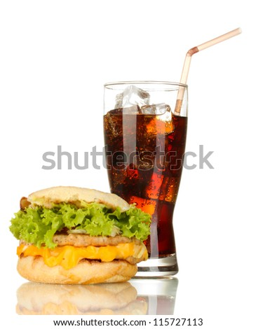 tasty sandwich and glass with cola, isolated on white - stock photo