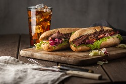 Tasty sandwich with roast beef