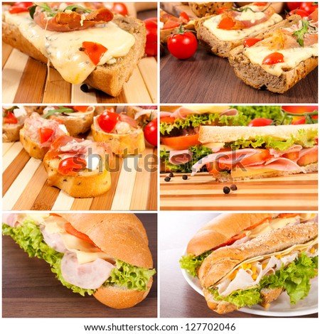 Tasty sandwiches on the wooden board