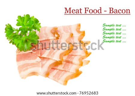 Tasty sliced bacon and parsley isolated on white background