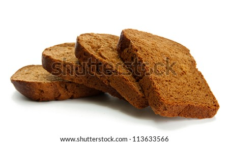 tasty sliced rye bread, isolated on white
