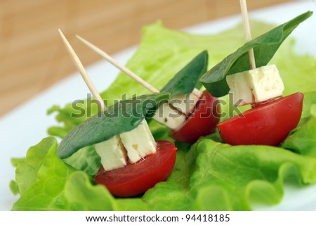 Tasty small sandwich from vegetables and cheese