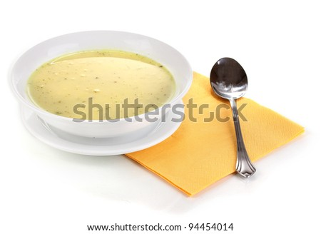 Tasty soup isolated on white