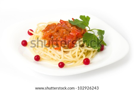 Tasty spaghetti with tomatoes and vegetable