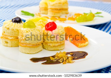 Tasty sweets in the plate