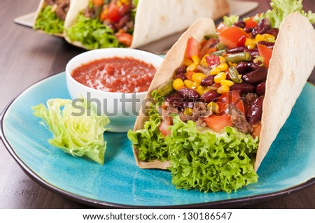 Tasty taco sandwich on the plate