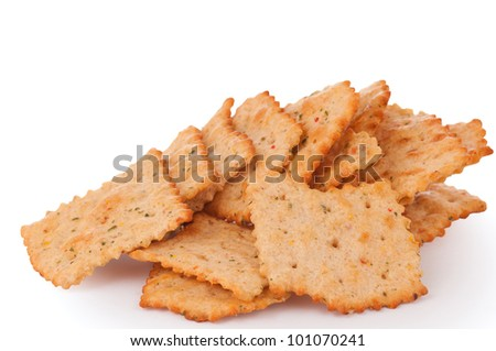 Tasty Toasted Vegetable Crackers in Odd Shapes for a Healthy Snack or Treat on a White Background
