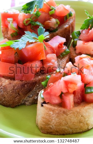 Tasty traditional bruschetta with shallow depth of field