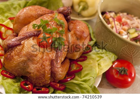 tasty traditional food with chicken and vegetables